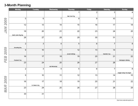 three month planning calendar template printable 3 month calendar