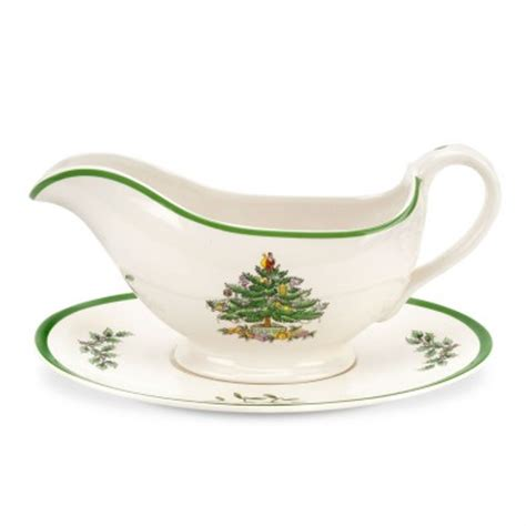 havens spode christmas tree sauce boat and stand