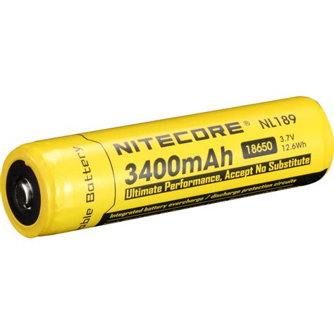 Nitecore 18650 Rechargeable Li Ion Battery 3400mah 3 7v Nl1834 nitecore nitecore 18650 li ion rechargeable battery nl1834 b h