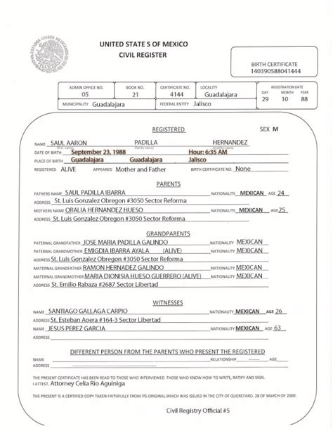 mexican birth certificate translation template official qa