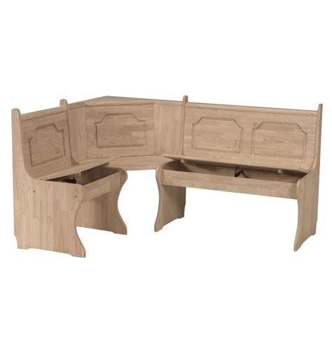 Corner Bench 67 Inch Corner Storage Benches Bare Wood Wood