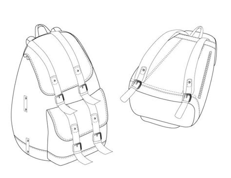 sketch pattern generator back pack technical constructive fashion drawings
