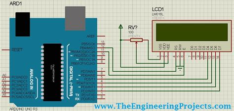 circuit designing of lcd with arduino in proteus