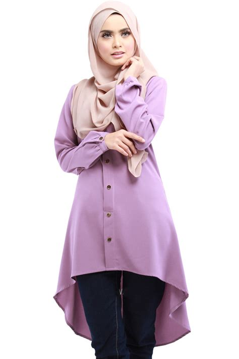 Blouse Muslimah Hilda Top muslimah sleeves neck top size m l 11street malaysia tops