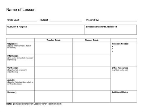 free printable blank lesson plan template lesson plan outline template 10 free free word pdf