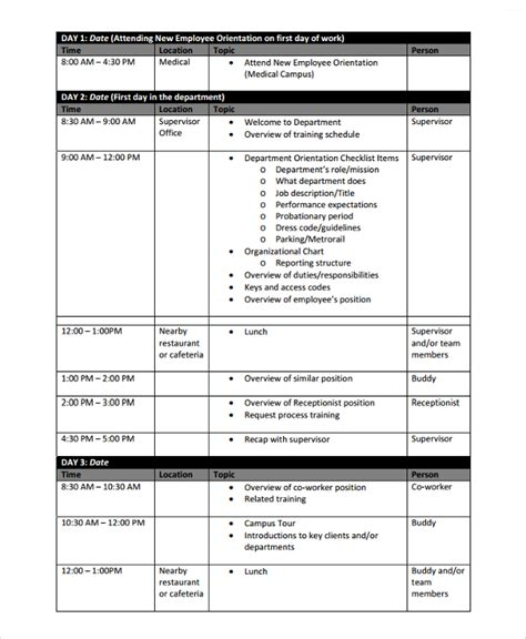 sle training schedule template 17 free documents