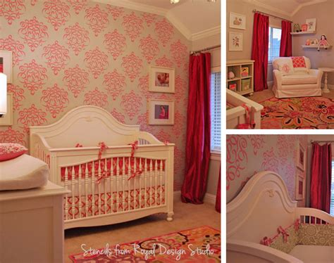 room stencils stenciled nursery is playfully paint pattern