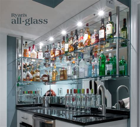 home bar shelves hanging stack bar with glass shelves and mirror wall