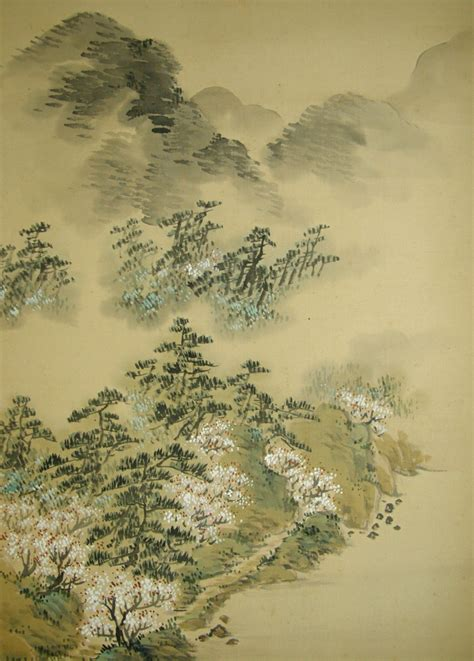 japanese landscape painting ss 10135 rafts mountain in a mist japanese
