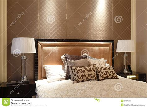 bed backs designs simple like a hotel bedroom in the apartment stock photo