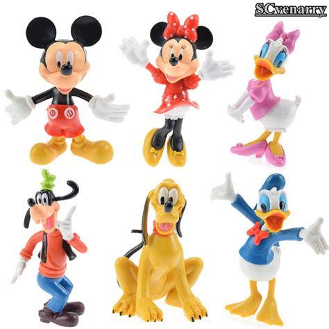 Disney Figure Donald Mickey Minnie Goofy Pluto 6pcs set mickey mouse donald duck pluto goofy minnie mouse pvc figure model toys baby