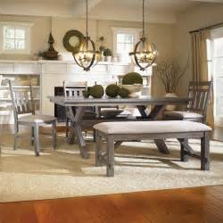 Dining Room Sets With Bench Powell Turino 6 Rectangle Dining Room Set In Grey Oak Beyond Stores