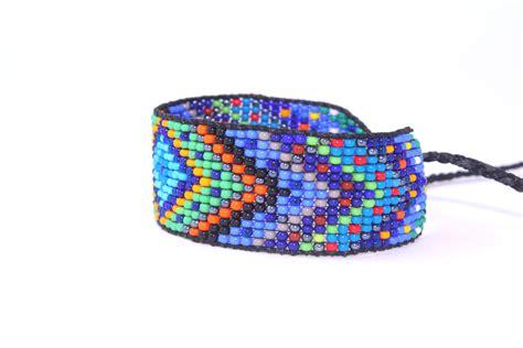 Huichol Inspired Beaded Diamond Mandala Bracelet, Original Design 17 Blue Center