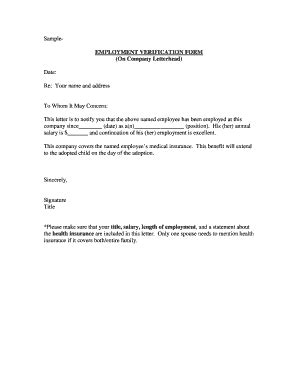 Proof Of Employment Letter Requirements Employment Verification Letter Template Forms Fillable