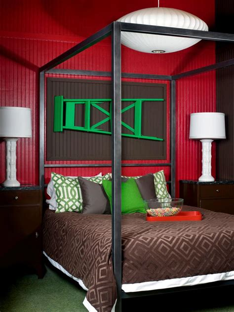 brown and red bedroom unexpected color palettes hgtv