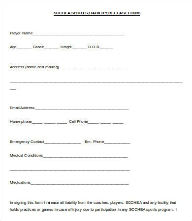 sports liability waiver form template release of liability form 7 free word pdf documents