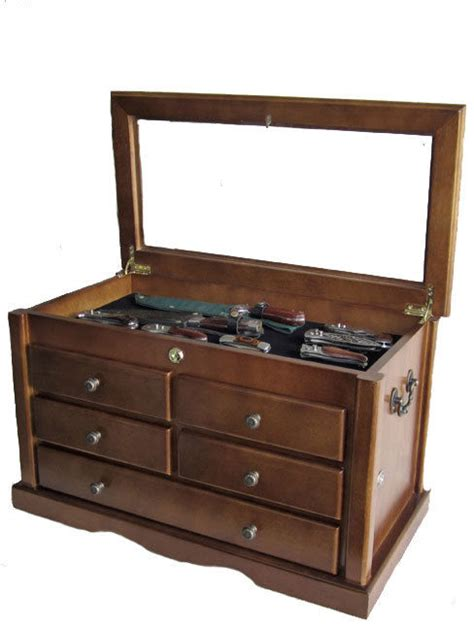 Large Knife Display Case Storage Cabinet w/Shadow Box on