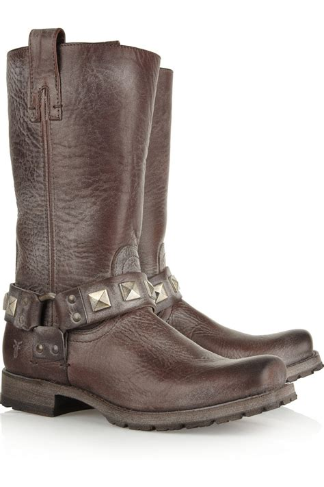 frye studded boots frye heath studded distressed leather boots in brown