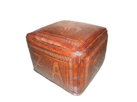 tooled leather ottoman tooled leather large square ottoman with bronco and brand
