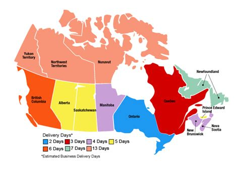 color coded map of canada shipping