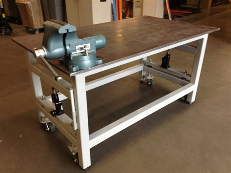 home made work bench diy workbench retractable wheels woodguides