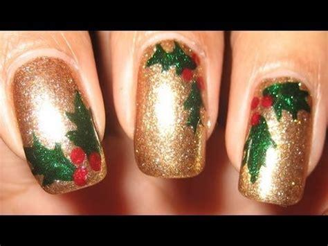 nail art leaf tutorial holly leaves berries diy nail art tutorial youtube