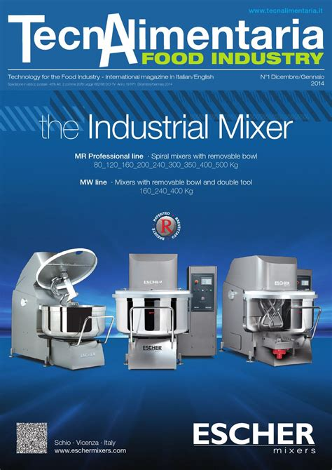 Vicenza Stand Mixer Vsm100 tecnalimentaria food industry dicembre gennaio december january 2014 by editrice edf trend srl