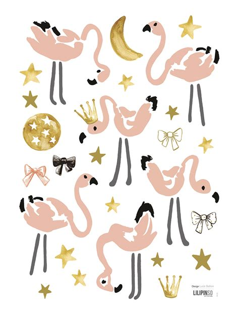 Wandsticker Gold by Lilipinso Wandtattoos Flamingos Puderrosa Gold Schwarz