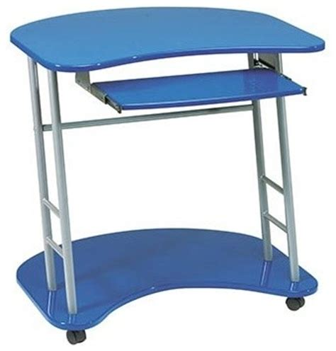 Computer Desk With Wheels Kool Kolor Cobalt Blue Computer Desk With Caster Wheels Contemporary Desks And Hutches By