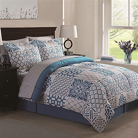 Moroccan Bed Sets Moroccan Patch 8 Comforter Set In Blue Grey Bed Bath Beyond