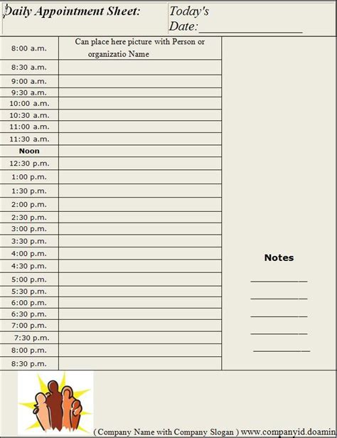 daily appointment sheet template graphics and templates