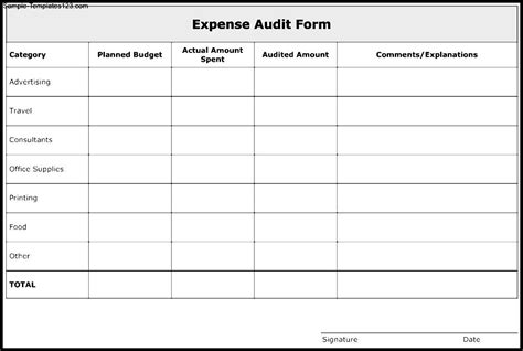 audit form template expense audit form template sle templates