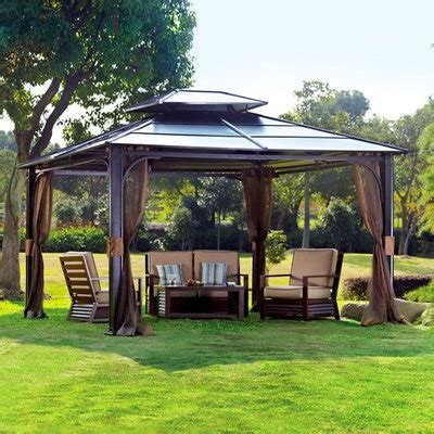 Hardtop Patio Gazebo 10 X 12 Hardtop Metal Steel Roof Outdoor Patio Gazebo W Aluminum Poles By Sunjoy