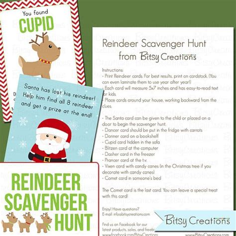 printable reindeer scavenger hunt printable reindeer scavenger hunt pdf instant download