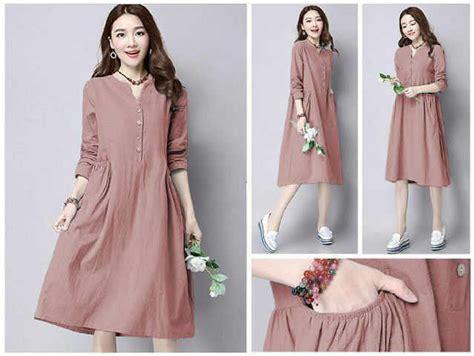Denim Blouse Muslim Tunik Baju Atasan Wanita Puff 1 baju gamis gamis murni
