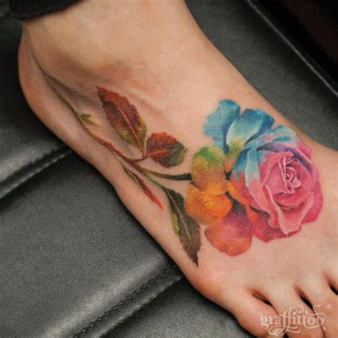 rose foot tattoos foot tattooblend