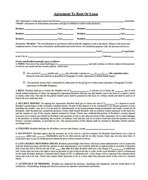 offset agreement template offset agreement template rent agreement form 9 free word