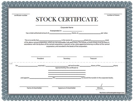 stock certificate template of stock certificate sle