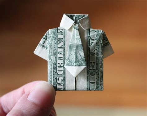 Origami Dollar Bill Shirt With Tie - essential skill money origami how about orange