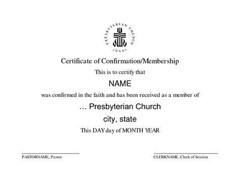 Presbyterian Baptism Certificate Template by Best Photos Of Confirmation Certificate Bank