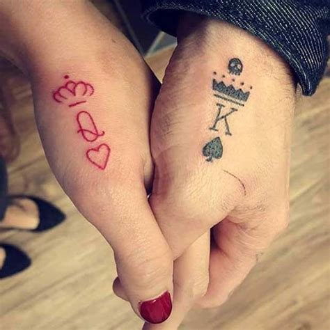 queen tattoo in hand 61 cute couple tattoos that will warm your heart black