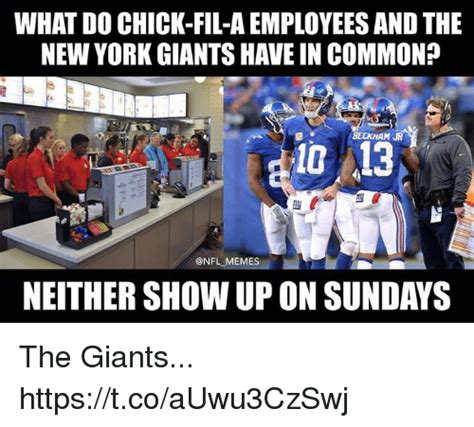 New York Giants Memes - what do chick fil a employees and the new york giants have in common beckham jr 10 13 onfl