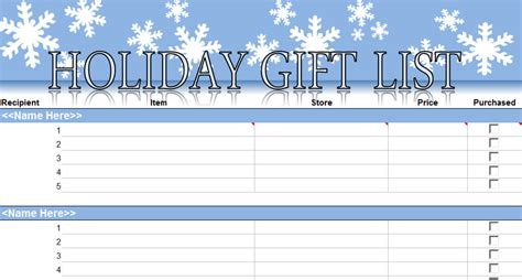 printable holiday shopping list template christmas shopping list template new calendar template site