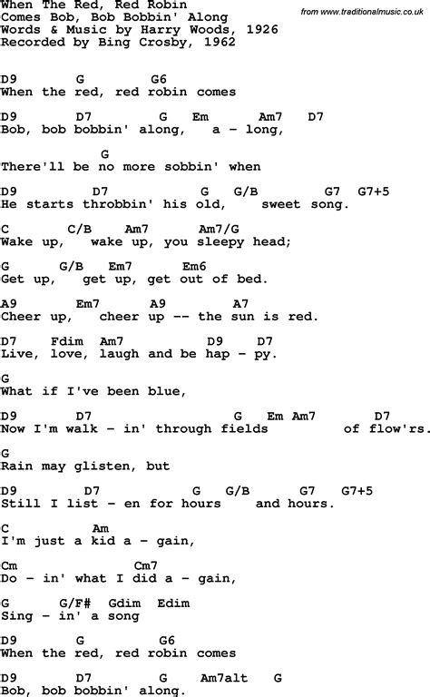 lyrics and guitar chords song lyrics with guitar chords for when the robin