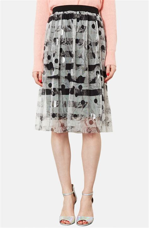 topshop metallic pattern tulle midi skirt in black silver