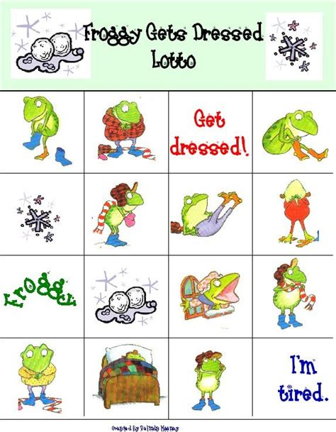 froggy gets dressed bingo adorable printable bingo game