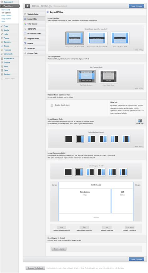 layout editor website pagelines drag drop framework review a first look