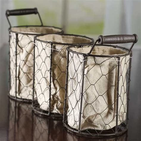 wire home decor brown chicken wire and linen storage basket decorative