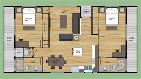 Modern Style House Plan   2 Beds 2 Baths 1023 Sq/Ft Plan