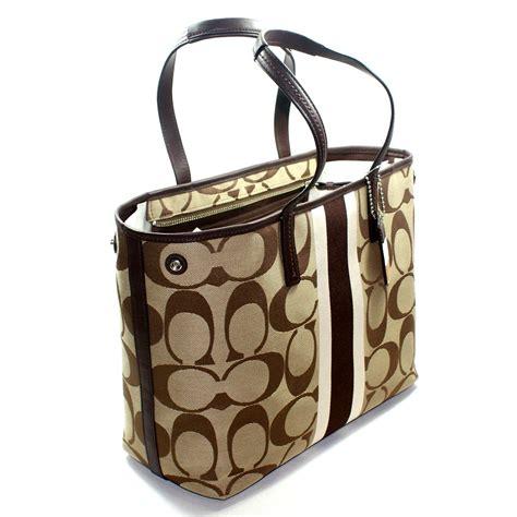 Coach Htons Stripe Medium Purse by Coach Htons Signature Stripe Medium Tote Bag Brown